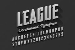 Retro style condensed typeface. Vintage alphabet vector illustration Stock Images