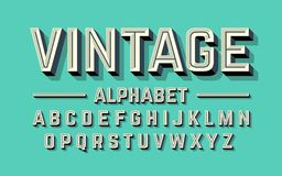 Retro style 3d alphabet. Illustration Stock Photo