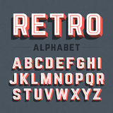 Retro style 3d alphabet vector illustration