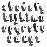 Retro style 3d font with hand drawn lines texture, lowercase. Set vector illustration