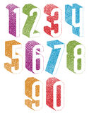 Retro style 3d geometric numbers set with hand drawn lines textu Royalty Free Stock Photos