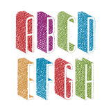 Retro style 3d thin tall condensed font with hand drawn lines Stock Photo