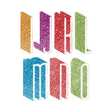 Retro style 3d thin tall condensed font with hand drawn lines Royalty Free Stock Photography