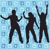 Retro style dancers. Dancing silhouettes on a retro background - additional ai and eps format available on request Royalty Free Stock Photography