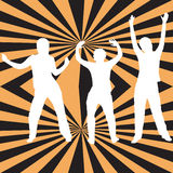 Retro style dancers. Dancing silhouettes on a retro background - additional ai and eps format available on request Stock Photo