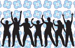 Retro style dancers. Dancing silhouettes on a retro background - additional ai and eps format available on request Royalty Free Stock Image