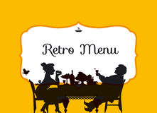 Retro style eating people silhouette. Royalty Free Stock Images