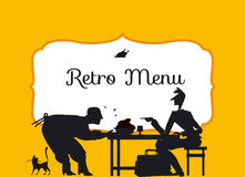 Retro style eating people silhouette. Stock Images
