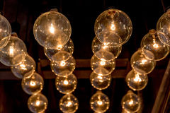 Retro style of Edison light bulbs decoration on ceiling in depar. Tment store Royalty Free Stock Photography