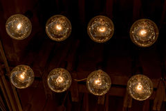 Retro style of Edison light bulbs decoration on ceiling in depar. Tment store Royalty Free Stock Image