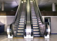 Retro style escalator. Old retro style metal escalator Royalty Free Stock Images