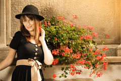 Retro style fashion woman in old town Stock Image
