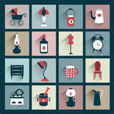 Retro style flat shadows icon. Vector vintage design. Royalty Free Stock Photos