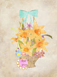 Retro style floral greeting card flowers in the basket   Stock Photography