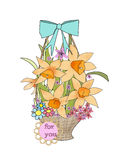 Retro style floral greeting card flowers in the basket Royalty Free Stock Photo