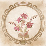 Retro style floral greeting card flowers illustration in grunge Stock Photos