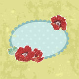 Retro-style floral invitation postcard Royalty Free Stock Photography