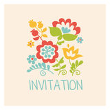 Retro style flowers in pastel color. Floral folk style simple design for greeting cards, Easter, thanksgiving, scrap booking Royalty Free Stock Images