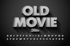 Retro style font, Old Movie title. Screen, alphabet letters and numbers vector illustration