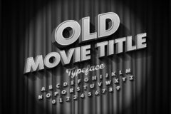 Retro style font, Old Movie title screen. Alphabet letters and numbers stock illustration