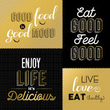 Retro style food quotes set in gold color Stock Photography