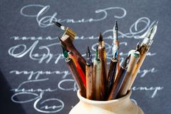 Retro Style Fountain Pens Nib Collection, Abstract Letters Background. Macro View, Shallow Depth Of Field Stock Image