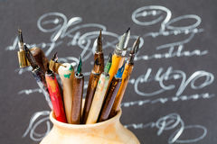 Retro Style Fountain Pens Nib Collection, Abstract Letters Background. Macro View, Shallow Depth Of Field Stock Photos