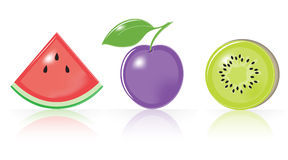 Retro-style Fruity Icons Stock Photography