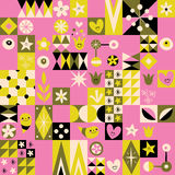 Retro style fun pattern with simple symbol characters. Vector stock illustration