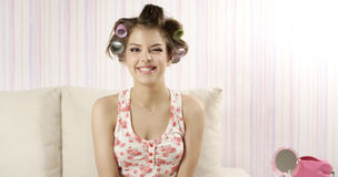 Retro style. Funny girl with hairstyle Stock Photo