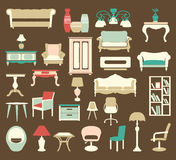 Retro style Furniture  Icons Silhouettes Royalty Free Stock Photography