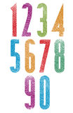 Retro style geometric tall condensed numbers set with hand drawn Stock Photos