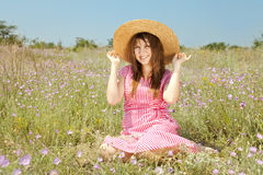 Retro style girl at countryside Royalty Free Stock Photos