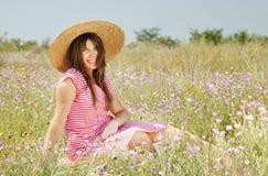 Retro style girl at countryside Royalty Free Stock Photos