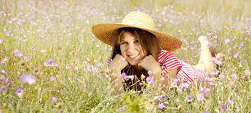 Retro style girl at countryside Royalty Free Stock Image