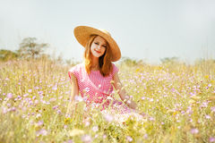 Retro style girl at countryside Stock Photos