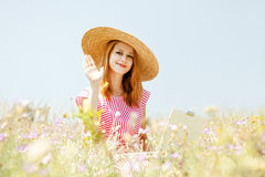 Retro style girl at countryside Royalty Free Stock Photo