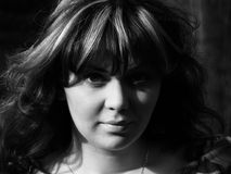 Retro-style girl portrait stock images