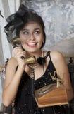 Retro style Girl Talking on Telephone Royalty Free Stock Photo
