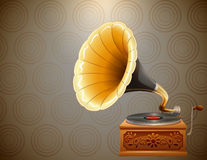 Retro style gramophone on pattern background Stock Photo