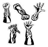 Retro style hands series black. And white royalty free illustration