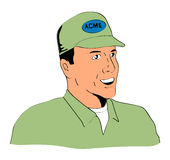 Retro style handyman smiling. Vector art of a retro style handyman smiling royalty free illustration
