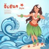 Retro style Hawaiian beautiful hula girl Royalty Free Stock Image