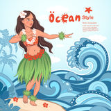 Retro style Hawaiian beautiful hula girl Royalty Free Stock Photo