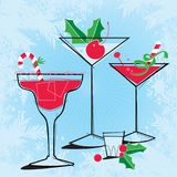 Retro-style Holiday Cocktails royalty free illustration