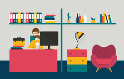 Retro style home office. Man work day in home interior. Royalty Free Stock Photography