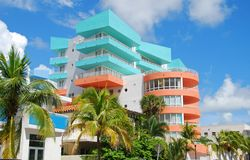Retro style hotel. Colorful art deco hotel in Miami Beach Stock Photo