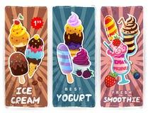 Retro style ice cream, smoothie and yogurt banners Stock Image