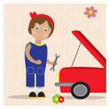 Retro style illustratiom. Little girl repairing the red car. Stock Photography