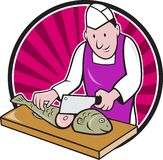 Sushi Chef Butcher Fishmonger Cartoon Stock Photos